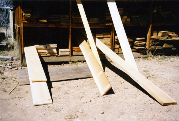 """(left to right) Idaho White S4S Standard - Douglas Fir Clears - 1/2"""" Thickness S4S Pine Boards - 2x10 Ponderosa Pine #2 Dimention - 3/4"""" Thickness Pine Clears"""